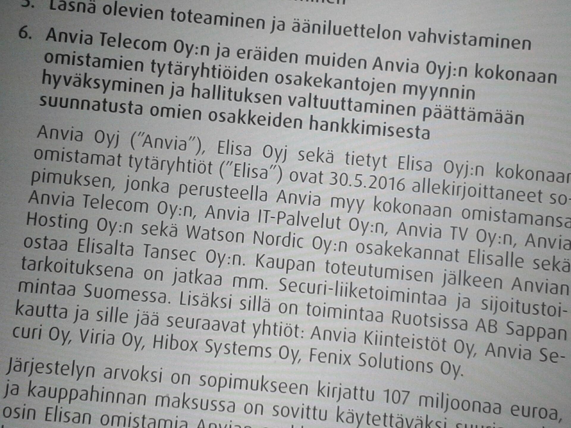 Anvias extra bolagsstämma har godkänt företagsarrangemanget mellan Elisa och Anvia